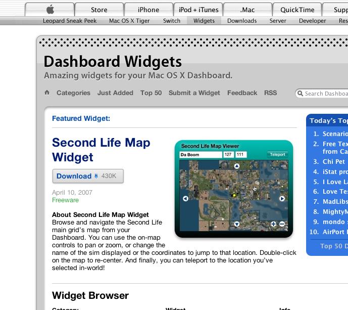 Pirandello Second Life Map Viewer Widget